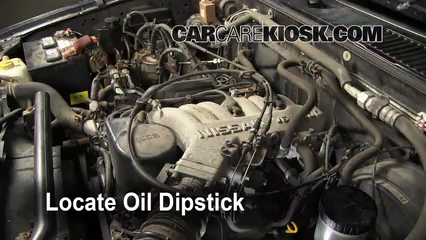 Check Oil Level 1986-1997 Nissan Pickup - 1995 Nissan Pickup XE 3 0L