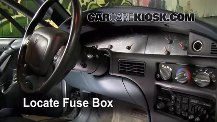 interior fuse box location: 1992-1999 pontiac bonneville
