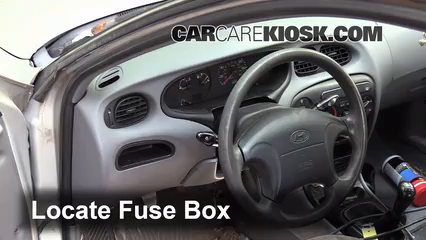 interior fuse box location: 1996-2000 hyundai elantra