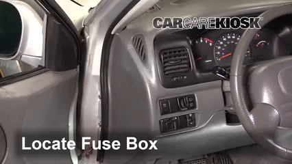 interior fuse box location 1999 2005 suzuki grand vitara 2003locate interior fuse box and remove cover
