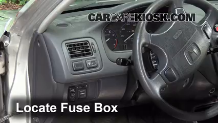Interior Fuse Box Location: 1996-2000 Honda Civic - 2000 Honda Civic EX  1.6L 4 Cyl. Coupe (2 Door)CarCareKiosk