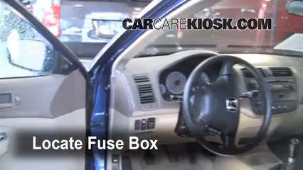 Interior Fuse Box Location: 2001-2005 Honda Civic - 2001 Honda Civic EX  1.7L 4 Cyl. Coupe (2 Door)CarCareKiosk