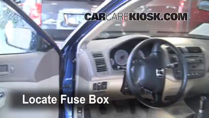 Interior Fuse Box Location 2001 2005 Honda Civic 2001 Honda Civic Ex 1 7l 4 Cyl Coupe 2 Door