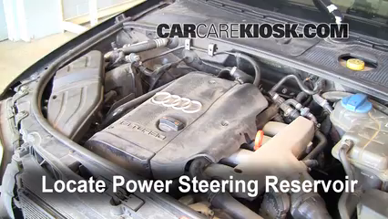 power steering leak fix 2002 2008 audi a4 quattro 2002 audi a4 high pressure power steering diagram 2002 audi a4 quattro 1 8l 4 cyl turbo power steering fluid check fluid level