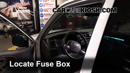 Interior Fuse Box Location: 1999-2004 Chevrolet Tracker - 2002 Chevrolet  Tracker 2.0L 4 Cyl. (4 Door)CarCareKiosk