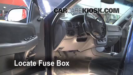 interior fuse box location 2002 2005 ford explorer 2002 ford ford cigarette lighter locate interior fuse box and remove cover