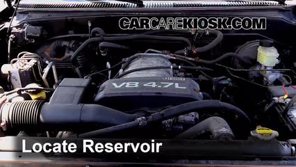 2002 Toyota Sequoia SR5 4.7L V8 Líquido limpiaparabrisas Agregar líquido