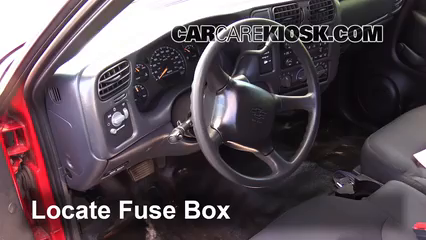 Interior Fuse Box Location: 1994-2004 Chevrolet S10 - 2003 Chevrolet S10  2.2L 4 Cyl. Standard Cab Pickup (2 Door)CarCareKiosk