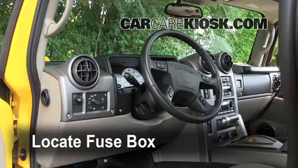 interior fuse box location: 2003-2009 hummer h2