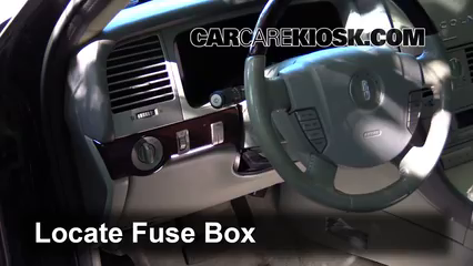 interior fuse box location: 2003-2005 lincoln aviator