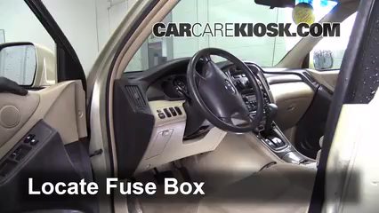Interior Fuse Box Location 2001 2007 Toyota Highlander 2006 Toyota Highlander Hybrid 3 3l V6