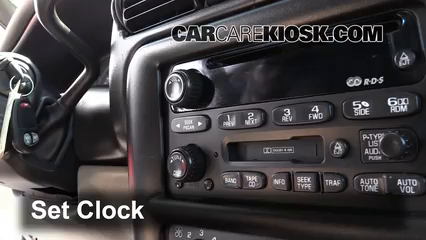 2003 chevy van clock set