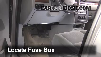 interior fuse box location   ford freestar