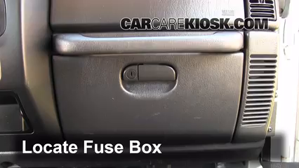 Interior Fuse Box Location: 1997-2006 Jeep Wrangler - 2004 Jeep Wrangler  Rubicon 4.0L 6 Cyl.CarCareKiosk