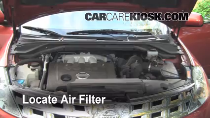 air filter how to 2003 2007 nissan murano 2004 nissan murano sl2004 nissan murano sl 3 5l v6 air filter (engine) check