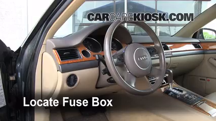 Interior Fuse Box Location: 2004-2010 Audi A8 Quattro - 2004 Audi A8  Quattro L 4.2L V8 | Audi A8 Fuse Box |  | CarCareKiosk