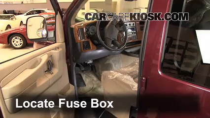 interior fuse box location: 1996-2014 chevrolet express 1500