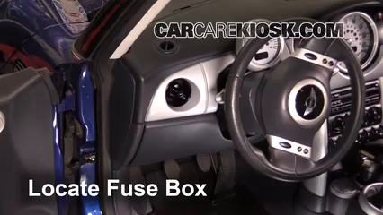 interior fuse box location: 2002-2008 mini cooper - 2007 mini cooper s 1.6l  4 cyl. turbo convertible  carcarekiosk