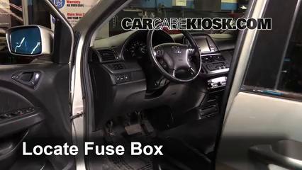 interior fuse box location: 2005-2010 honda odyssey - 2006 honda odyssey lx  3 5l v6