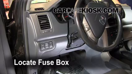 interior fuse box location 2003 2008 honda pilot 2006 honda pilot  locate interior fuse box and remove cover