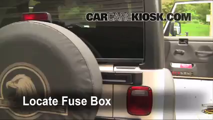 Interior Fuse Box Location: 1997-2006 Jeep Wrangler - 2006 Jeep Wrangler  Unlimited Rubicon 4.0L 6 Cyl.CarCareKiosk