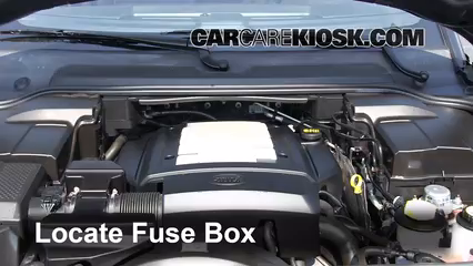 replace a fuse 2005 2009 land rover lr3 2006 land rover lr3 selocate engine fuse box and remove cover