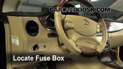 interior fuse box location 2006 2011 mercedes benz cls500. Black Bedroom Furniture Sets. Home Design Ideas