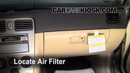 2006 Subaru Forester X 2.5L 4 Cyl. Air Filter (Cabin) Replace