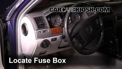 interior fuse box location 2004 2010 volkswagen touareg 2008 2004 volkswagen touareg v8 inside locate interior fuse box and remove cover