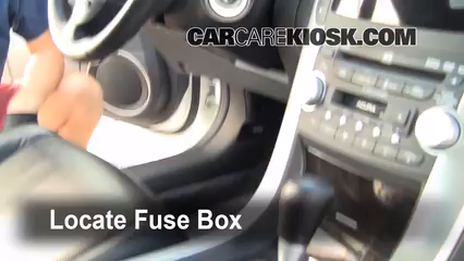 interior fuse box location 2004 2008 acura tl 2007 acura tl 3 2l v6 2005 bmw 530i fuse box locate interior fuse box and remove cover