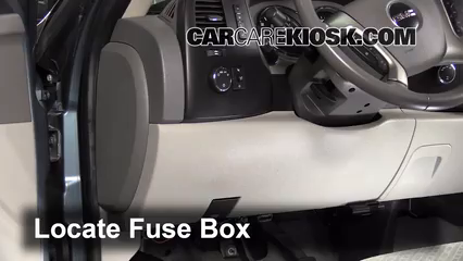 interior fuse box location: 2007-2013 gmc sierra 1500