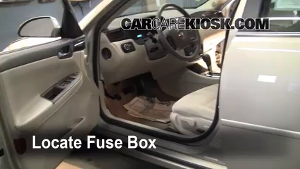 interior fuse box location: 2006-2013 chevrolet impala