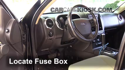interior fuse box location: 2007-2010 ford explorer sport trac