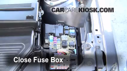 replace a fuse 2004 2009 mazda 3 2008 mazda 3 s 2 3l 4 cyl hatchback 2008 mazda 3 fuse box location 6 replace cover secure the cover and test component