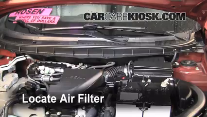 air filter how-to: 2008-2013 nissan rogue - 2011 nissan rogue s 2.5l 4 cyl.  carcarekiosk