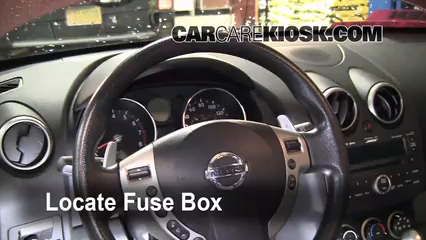 Interior Fuse Box Location: 2008-2013 Nissan Rogue - 2009 Nissan Rogue S  2.5L 4 Cyl.