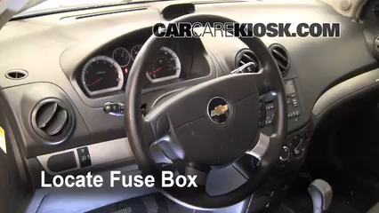 interior fuse box location 2004 2011 chevrolet aveo 2009 2007 Chevy Aveo Fuse Box