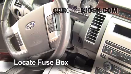 interior fuse box location 2009 2017 ford flex 2009 ford flex sel 2014 Ford F-550 Fuse Box locate interior fuse box and remove cover