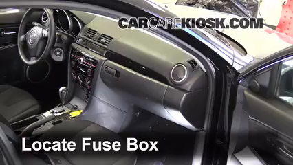 interior fuse box location: 2004-2009 mazda 3 - 2009 mazda 3 s 2.3l 4 cyl.  sedan  carcarekiosk