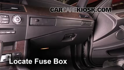 interior fuse box location 2004 2010 bmw 528i 2010 bmw 528i 3 0l Hyundai Fuse Box locate interior fuse box and remove cover