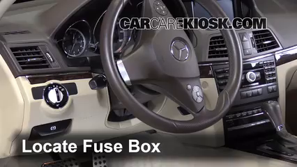 interior fuse box location 2010 2016 mercedes benz e350 2010 volvo s40 fuse box locate interior fuse box and remove cover