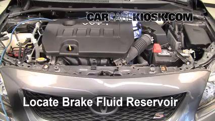 2010 toyota corolla s 1 8l 4 cyl  brake fluid check fluid level