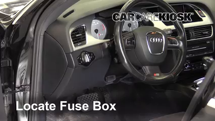 interior fuse box location 2010 2016 audi s4 2011 audi s4 3 0l v6 audi rs7 locate interior fuse box and remove cover