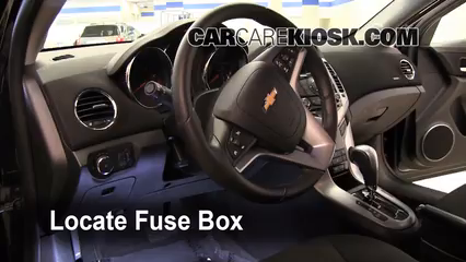 interior fuse box location 2011 2016 chevrolet cruze 2011 2003 Chevy Tahoe Fuse Box Diagram locate interior fuse box and remove cover