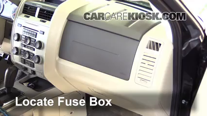interior fuse box location: 2005-2012 ford escape