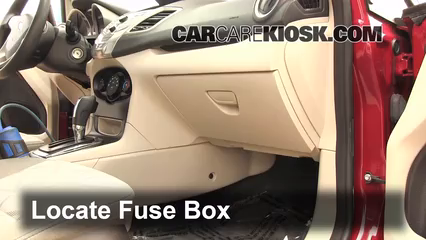 Interior Fuse Box Location: 2011-2019 Ford Fiesta - 2011 Ford Fiesta S 1.6L  4 Cyl.