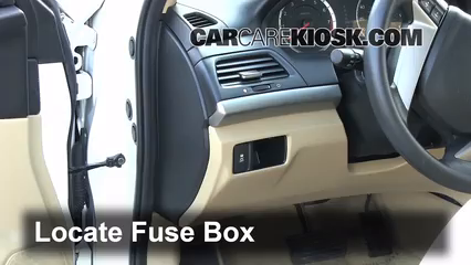 interior fuse box location 2008 2012 honda accord 2011 hondalocate interior fuse box and remove cover