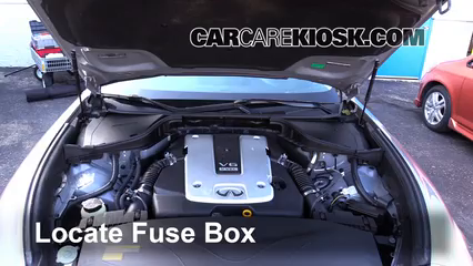 replace a fuse 2011 2013 infiniti m37 2011 infiniti m37 x 3 7l v6 Inifiniti M37x locate engine fuse box and remove cover