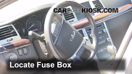 interior fuse box location 2009 2016 lincoln mks 2011 lincoln mks rh carcarekiosk com Freightliner Fuse Box Location 2005 Mazda 3 Fuse Box Location