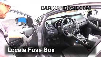 interior fuse box location: 2007-2012 mazda cx-7